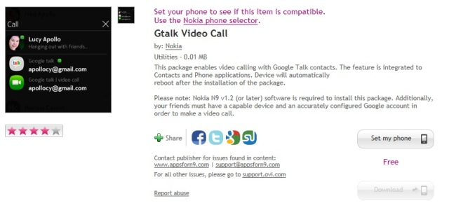 N9 gets video calling after PR1 2 update  G- talk video call app at