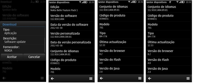 Screenshots of Nokia Belle Feature Pack 1 (FP1) update