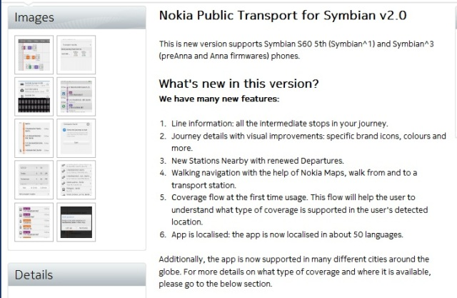 Public Transport for Symbian updated to V2 0 at Nokia