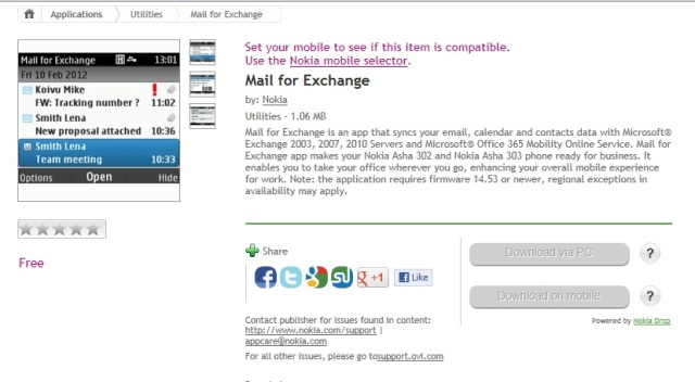 Mail for Exchange for Asha 302 and 303 released  Available