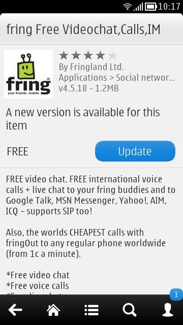 Fring fixed version 4 5 18 now available at Nokia Store for