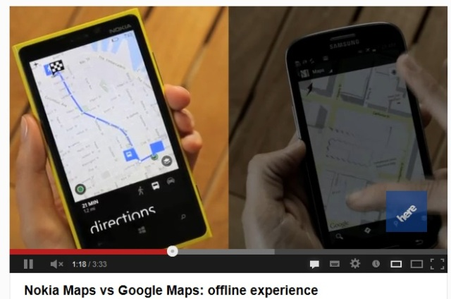 Video Comparison: Offline Nokia Maps on Lumia 920 vs Google