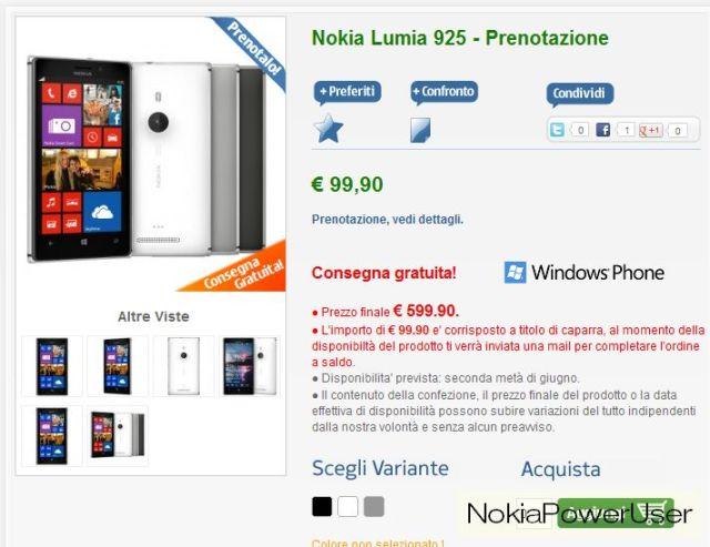 Lumia 925 preorder italy